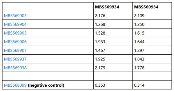 Coronavirus NP Antibodies and Reactivity with MBS569934 (COVID-19 Nucleocapsid NP Recombinant Antigen) by Indirect ELISA